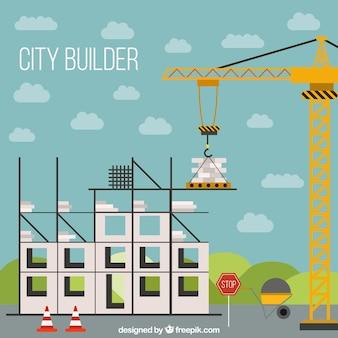 A construção de uma estrutura de casa em design plano