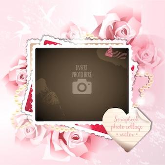 A frane romântico em um fundo com rosas
