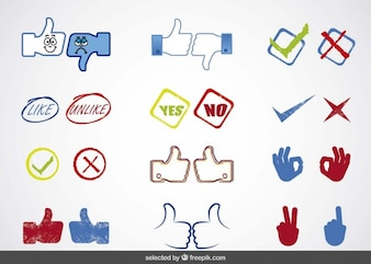 A mídia social sim ou não cobrança ícones