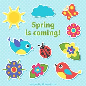 A primavera está chegando rótulos