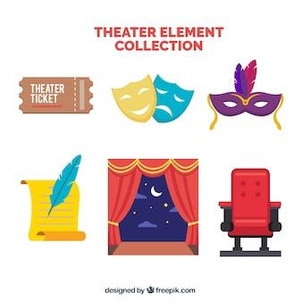 A seleção de artigos de teatro em design plano
