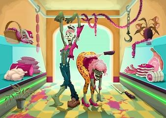A zona Zombie dois mortos-vivos no talho Vector ilustração dos desenhos animados
