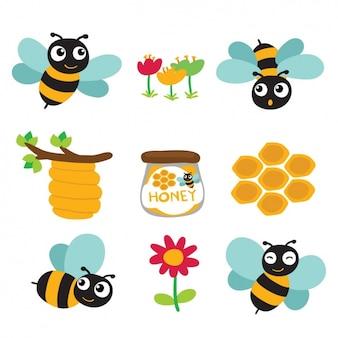 Abelhas coloridas e desenhos de mel