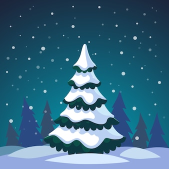 Abeto de Natal coberto pela floresta