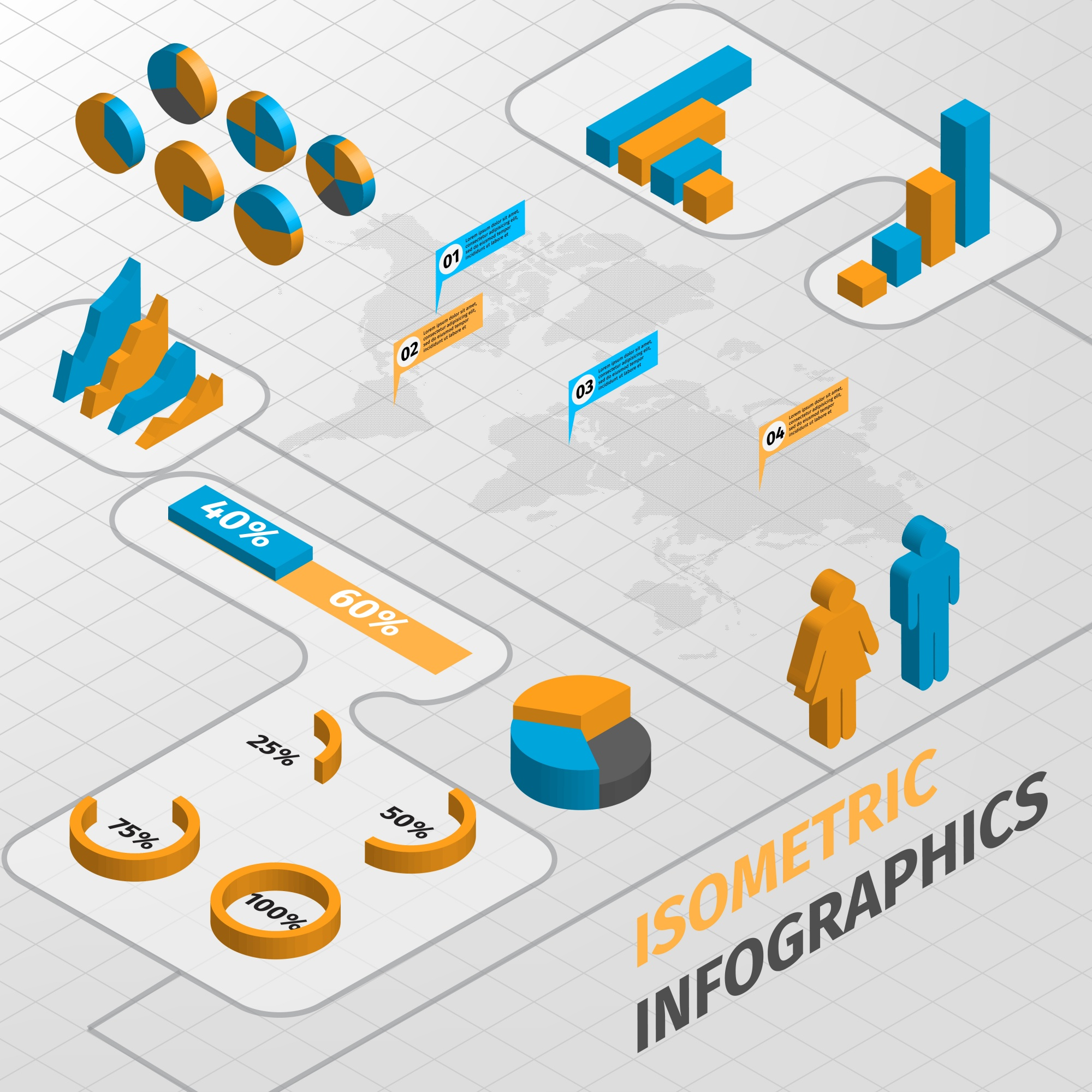 Abstract isometric business infographics design elements chart and graphs vector illustration