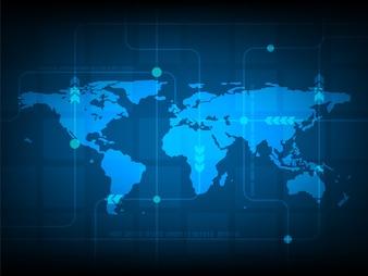Abstract world map tecnologia digital background, futurista estrutura elementos conceito fundo design