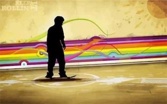 abstrato Skate boarding fundo do vetor