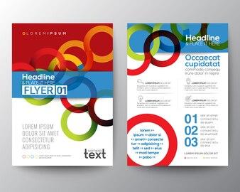 Abstratos, colorido, círculo, anel, forma folheto, flyer, modelo, fundo