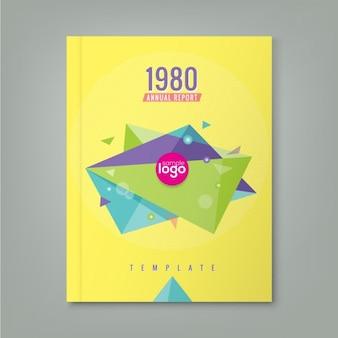 Abstratos dos anos 80 estilo triângulo formas geométricas projeto do fundo do relatório anual cartaz da capa do livro Folheto