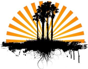 Abstratos, grunge, fundo, silueta, palma, árvores