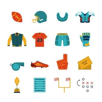 Acessórios de jogos de rugby coleção de pictogramas planos com equipamento de proteção de caixa e escudo de goma ilustração vetorial isolado abstrato