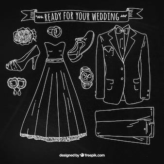 Acessórios do casamento definido com giz