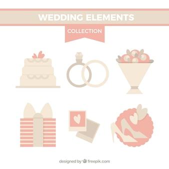 Acessórios do casamento em tons suaves