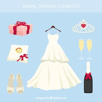 Acessórios do casamento fantástico em design plano
