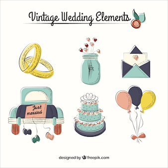 Acessórios esboçado do casamento do vintage