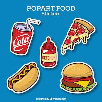 Adesivos de comida com estilo pop art