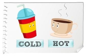 Adjetivos opostos com frio e calor