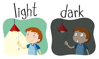 Adjetivos opostos luz e escuridão