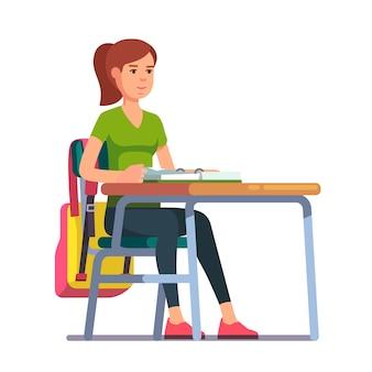 Adolescente, estudante, menina, sentada, escola, escrivaninha