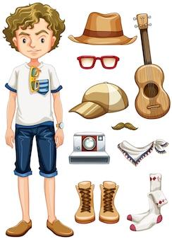 Adolescente hipster e muitos itens