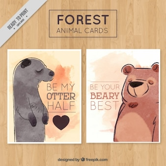 Adoráveis animais da aguarela cartões com mensagem