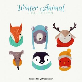 Adoráveis animais da aguarela com acessórios de inverno