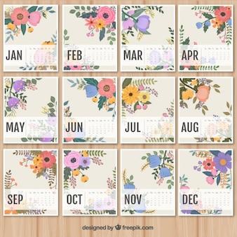 adorável calendário floral