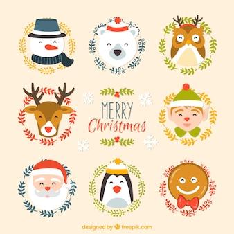 Adorável coleção de personagens de natal