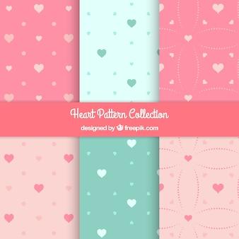 Adorável corações decorativos padrão de pacote