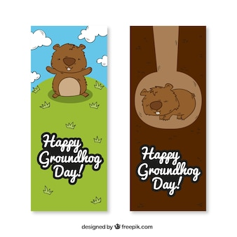 Adorável desenhado à mão banners dia de Groundhog