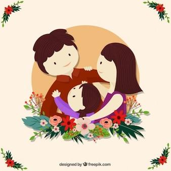 Adorável ilustração família