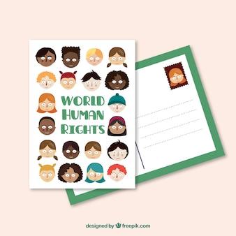 Adorável mundo postcard direitos humanos
