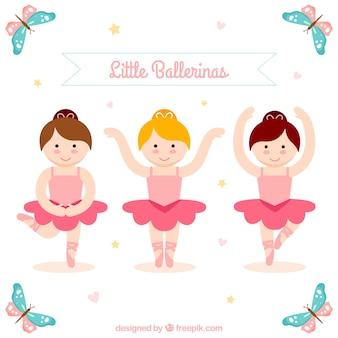 Adorável três bailarinas pequenas