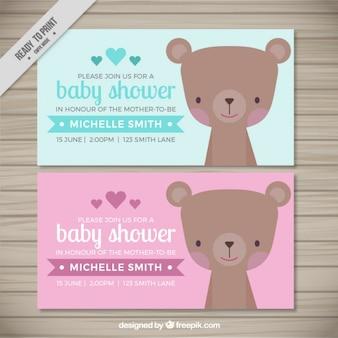 Adorável urso convites do chuveiro de bebê
