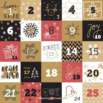 Advento Vintage calendário elegante