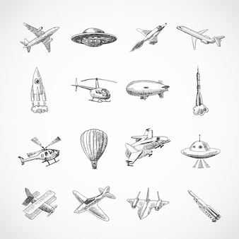 Aeronave, helicóptero, militar, aviação, avião, esboço, ícones, jogo, isolado, vetor, ilustração