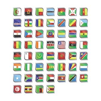 Africano bandeiras ícone coleção