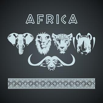 Africano grande cinco animais e padrão