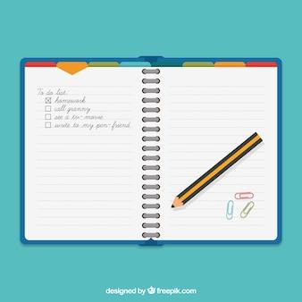 Agenda e lápis