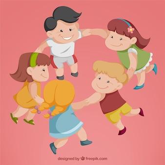Agradáveis crianças que têm o divertimento