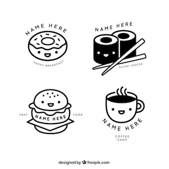 Agradáveis lineares restaurante e café logos loja
