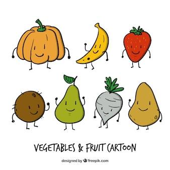 Agradável desenhadas mão legumes e frutas desenhos animados