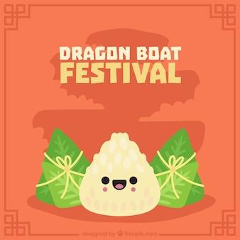 Agradável, fundo, dragão, bote, festival, tradicional, alimento