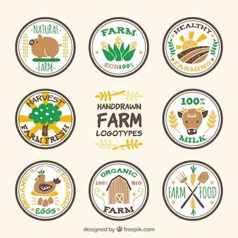 Agradável mão tirada logotipos fazenda circular embalar