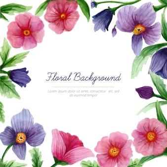 Aguarela bonita fundo floral
