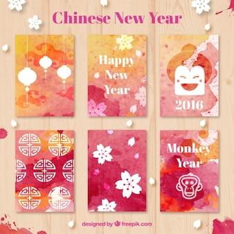 Aguarela chinesa novos cartões de ano