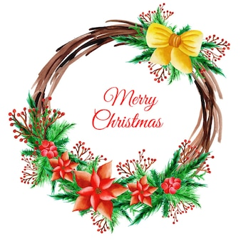 Aguarela Grinalda de Natal