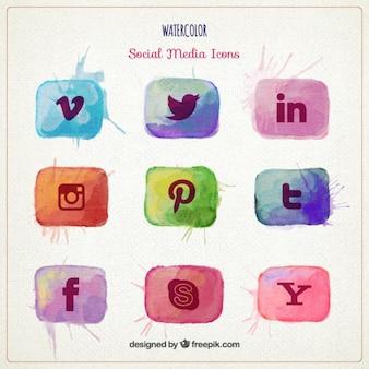 Aguarela ícones sociais dos media embalar