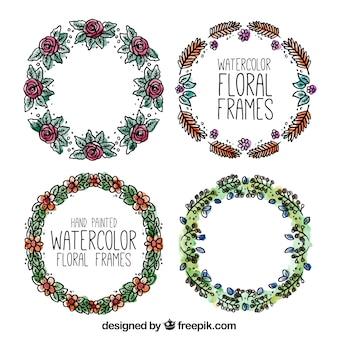Aguarela pintado mão frames florais