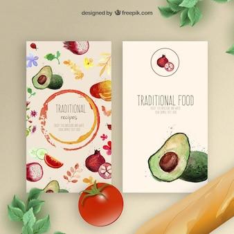 Aguarela tradicionais folhetos alimentares